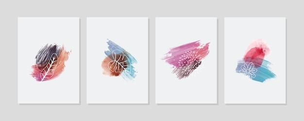 Handgeschilderde aquarel minimale handgetekende covers collectie