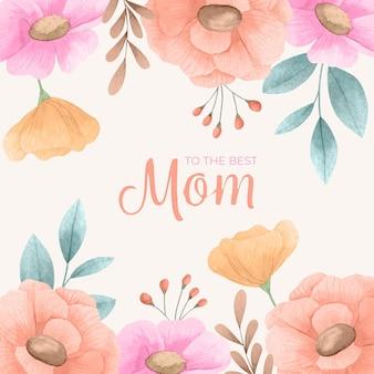 Handgeschilderde aquarel moederdag illustratie