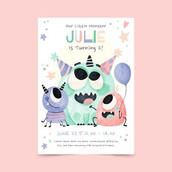 Handgeschilderde aquarel monsters verjaardag uitnodiging sjabloon