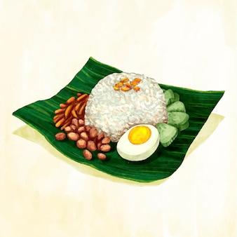 Handgeschilderde aquarel nasi lemak
