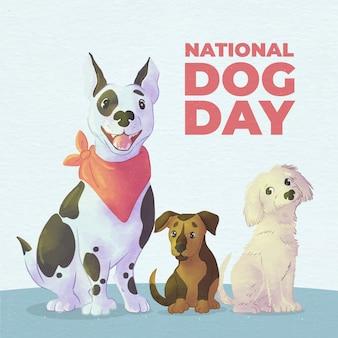 Handgeschilderde aquarel nationale hond dag illustratie