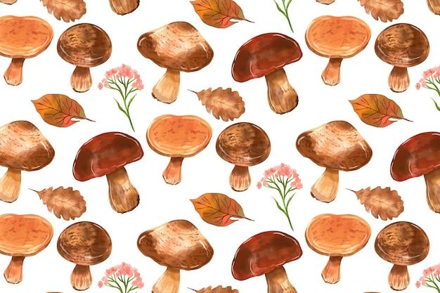 Handgeschilderde aquarel paddestoel patroon