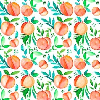 Handgeschilderde aquarel perzik patroon ontwerp