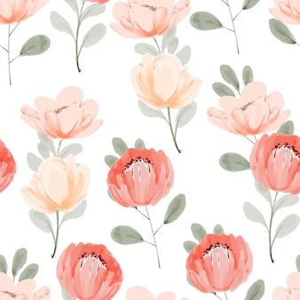 Handgeschilderde aquarel pioenrozen bloemboeket terugkeerpatroon