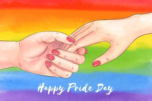 Handgeschilderde aquarel pride-dag illustratie