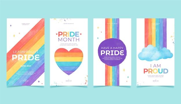 Handgeschilderde aquarel pride-dag instagram-verhalencollectie