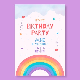 Handgeschilderde aquarel regenboog verjaardag uitnodiging sjabloon