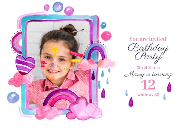 Handgeschilderde aquarel regenboog verjaardagsuitnodiging sjabloon met foto