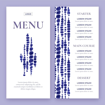 Handgeschilderde aquarel restaurant menu