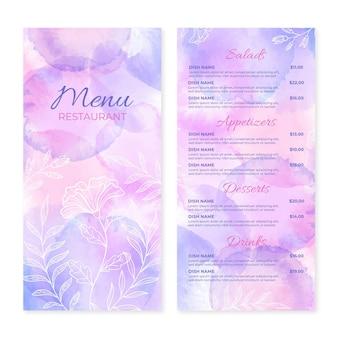 Handgeschilderde aquarel restaurant menusjabloon