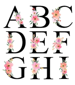 Handgeschilderde aquarel roze oranje bloemen alfabet ontwerp
