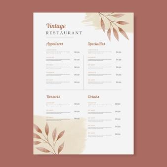 Handgeschilderde aquarel rustieke restaurant menusjabloon