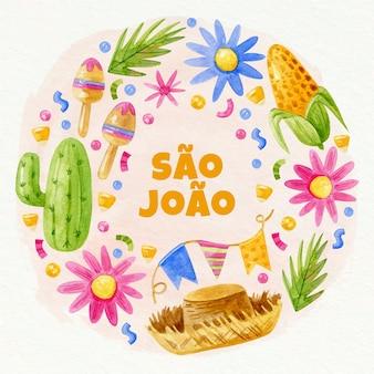 Handgeschilderde aquarel sao joao illustratie