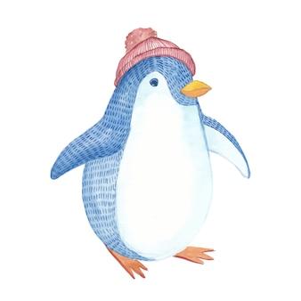 Handgeschilderde aquarel schattige pinguïn met rode hoed