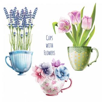 Handgeschilderde aquarel set van schattige bloemen in theekopjes