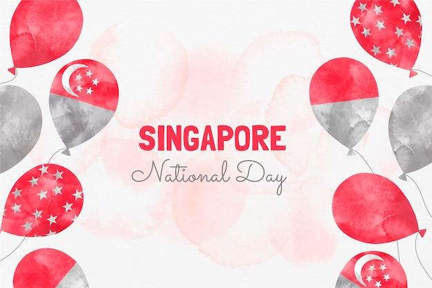Handgeschilderde aquarel singapore nationale feestdag illustratie