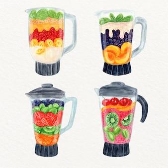 Handgeschilderde aquarel smoothies in blender glas illustratie