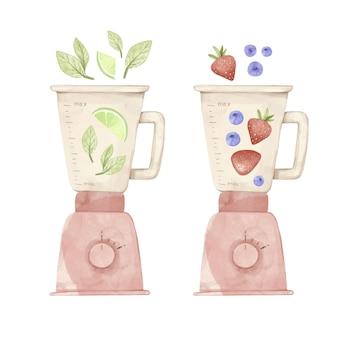 Handgeschilderde aquarel smoothies