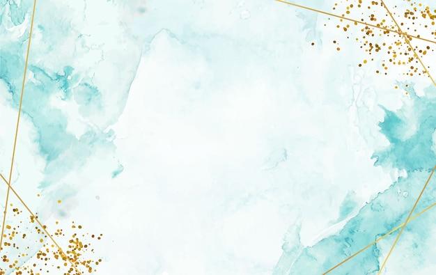 Handgeschilderde aquarel splash achtergrond met gouden lijn en schittering