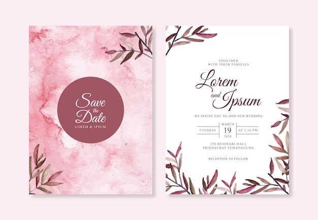 Handgeschilderde aquarel splash en blad voor een mooie bruiloft uitnodiging sjabloon