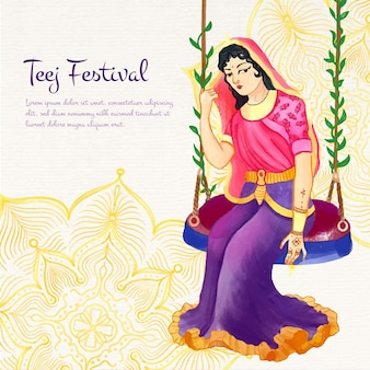Handgeschilderde aquarel teej festival illustratie