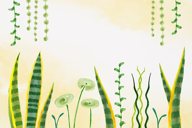 Handgeschilderde aquarel tropische bladeren achtergrond