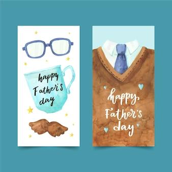 Handgeschilderde aquarel vaderdag banners set