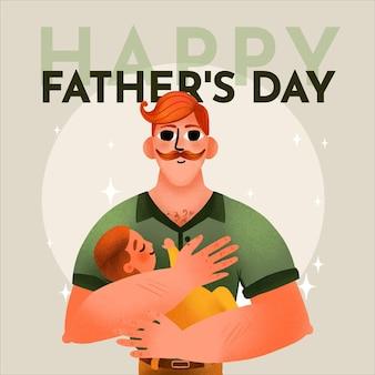 Handgeschilderde aquarel vaderdag illustratie