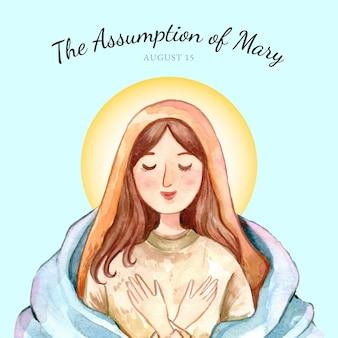 Handgeschilderde aquarel veronderstelling van maria illustratie
