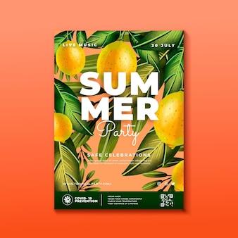 Handgeschilderde aquarel verticale zomer partij poster sjabloon