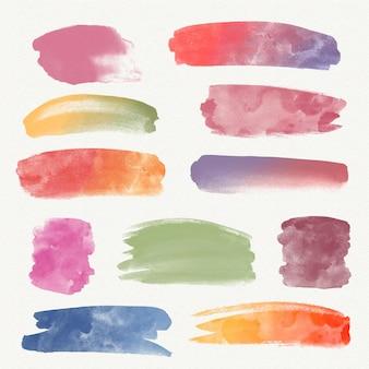Handgeschilderde aquarel vlekken en penseelstreken