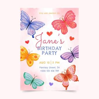 Handgeschilderde aquarel vlinder verjaardagsuitnodiging sjabloon
