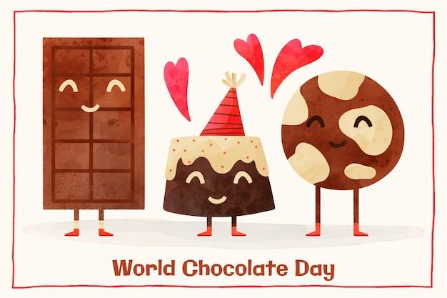 Handgeschilderde aquarel wereld chocolade dag illustratie
