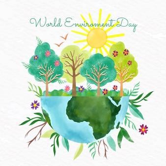 Handgeschilderde aquarel wereld milieu dag illustratie