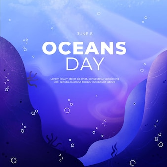 Handgeschilderde aquarel wereld oceanen dag illustratie
