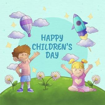 Handgeschilderde aquarel wereldkinderen dag illustratie