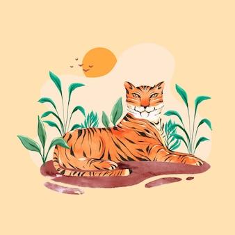 Handgeschilderde aquarel wereldwijde tijger dag illustratie