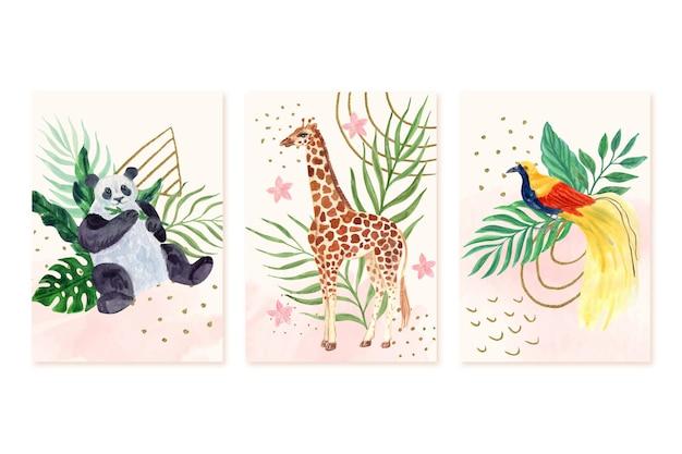 Handgeschilderde aquarel wilde dieren omvat collectie
