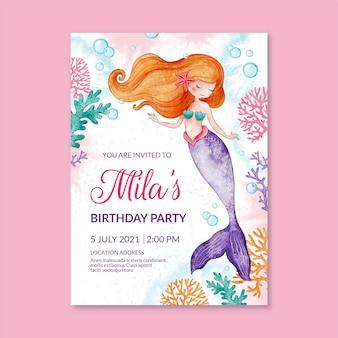 Handgeschilderde aquarel zeemeermin verjaardag uitnodiging sjabloon