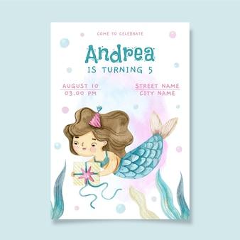 Handgeschilderde aquarel zeemeermin verjaardagsuitnodiging
