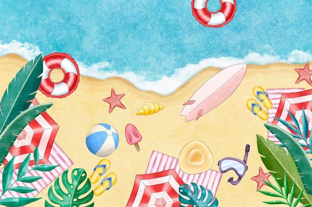 Handgeschilderde aquarel zomer achtergrond voor videocalls