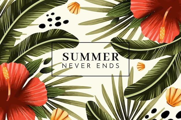 Handgeschilderde aquarel zomer achtergrond Gratis Vector