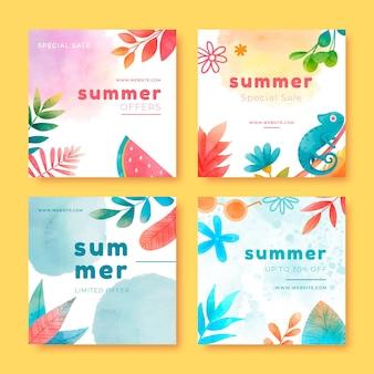 Handgeschilderde aquarel zomer instagram posts collectie