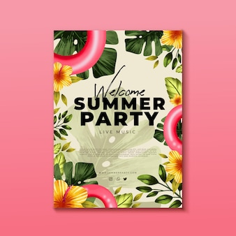 Handgeschilderde aquarel zomer partij folder sjabloon