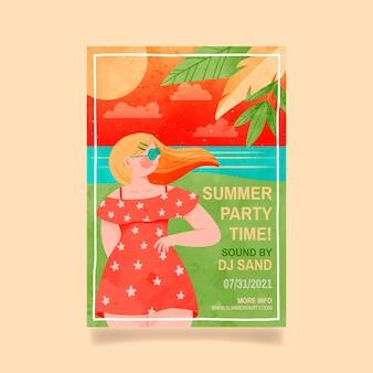 Handgeschilderde aquarel zomer partij verticale poster sjabloon