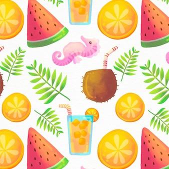 Handgeschilderde aquarel zomer patroon
