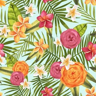 Handgeschilderde aquarel zomer tropische patroon
