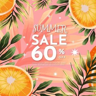 Handgeschilderde aquarel zomer verkoop illustratie
