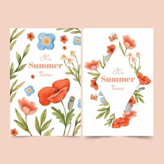 Handgeschilderde aquarel zomerkaarten collectie