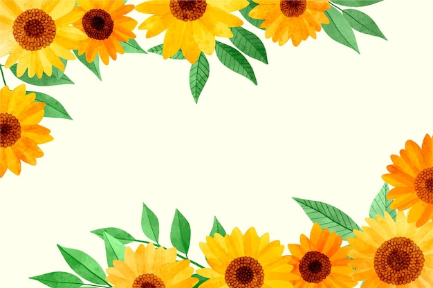 Handgeschilderde aquarel zonnebloem grens behang